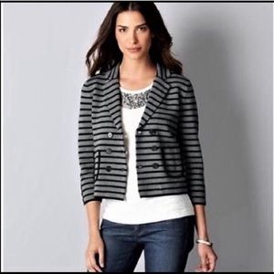 LOFT Striped Double Breasted Cropped Blazer Jacket